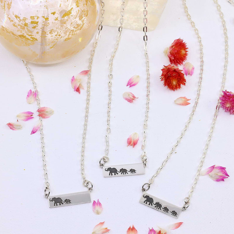 Mother's Love - Sterling Silver Elephant Bar Necklace main image | Breathe Autumn Rain Artisan Jewelry
