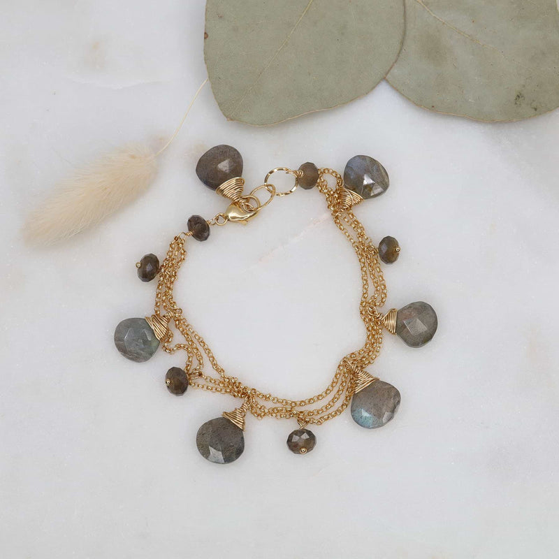 Munich - Labradorite Gold Charm Bracelet main image | Breathe Autumn Rain Artisan Jewelry