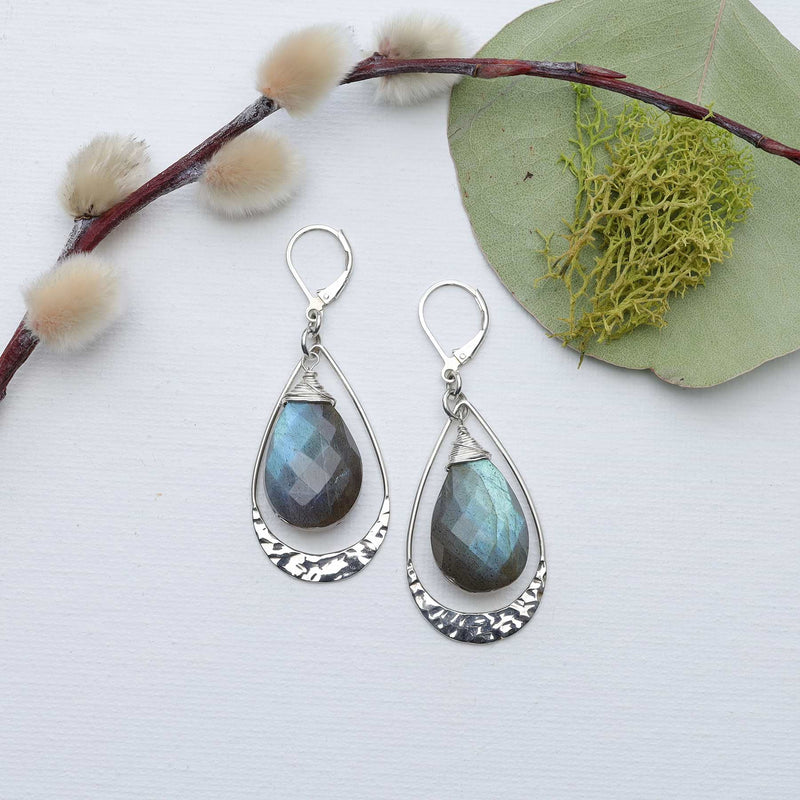 Natural Aquamarine Hammered Silver Earrings - main image | Breathe Autumn Rain Artisan Jewelry