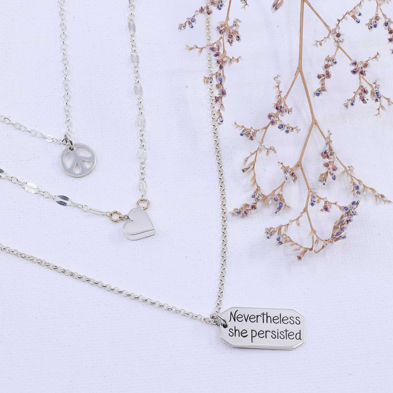 Nevertheless She Persisted - Sterling Silver Empowerment Layering Necklace detail image | Breathe Autumn Rain Artisan Jewelry