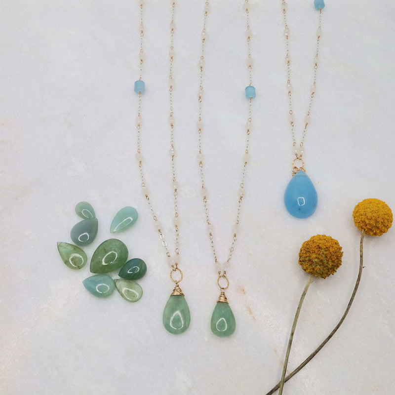 On A Clear Day - Aquamarine and Moonstone Necklace - alt image | Breathe Autumn Rain Artisan Jewelry
