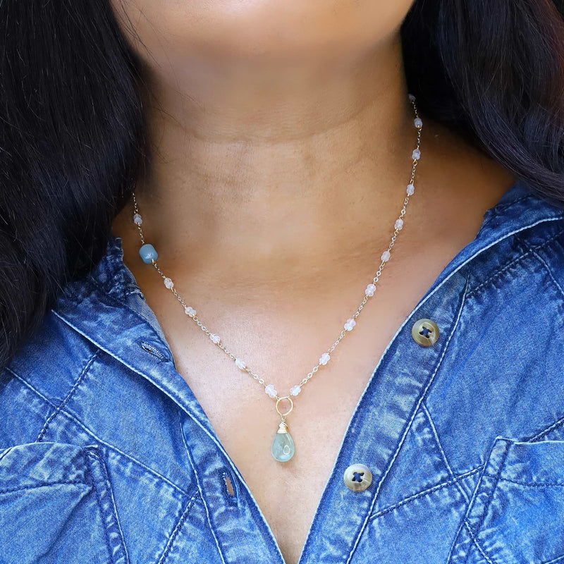 On A Clear Day - Aquamarine and Moonstone Necklace - life style image | Breathe Autumn Rain Artisan Jewelry
