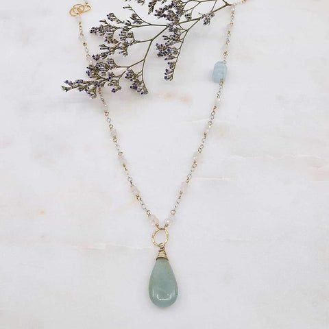 On A Clear Day - Aquamarine and Moonstone Necklace