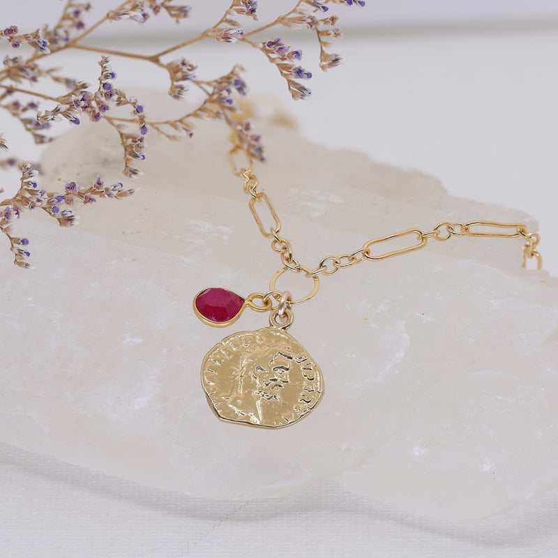 Paros - Ancient Coin Ruby Gold Box Chain Necklace alt image | Breathe Autumn Rain Artisan Jewelry