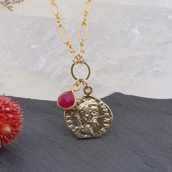 Paros - Ancient Coin Ruby Gold Box Chain Necklace main image | Breathe Autumn Rain Artisan Jewelry