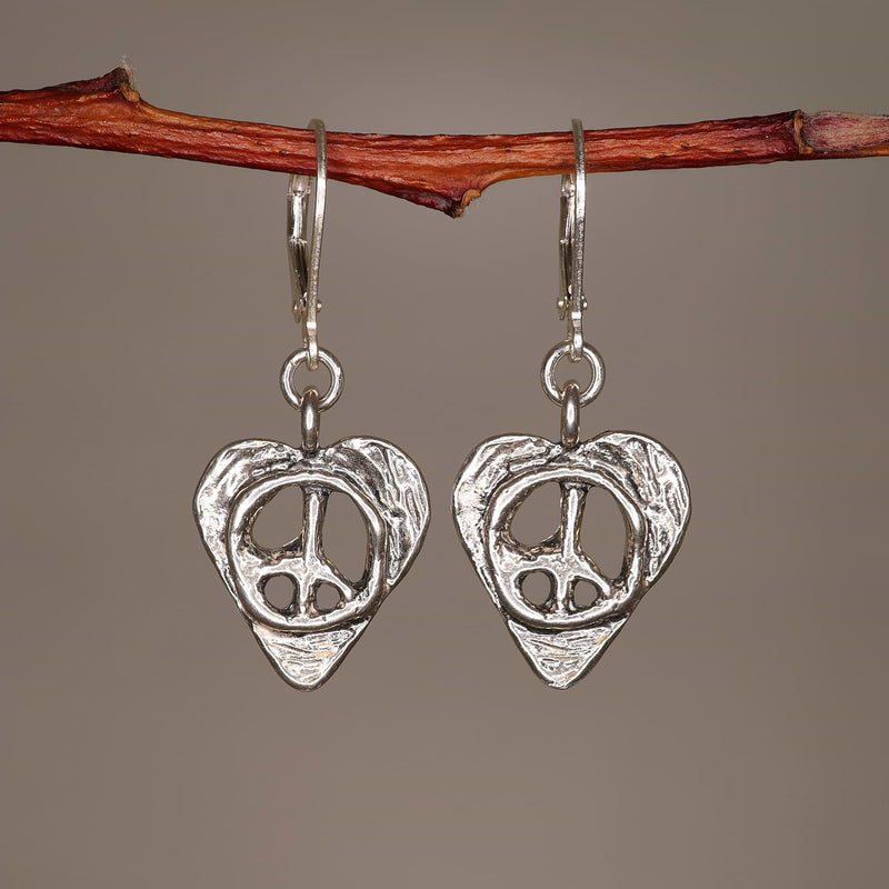 Peace Within - Heart-Shaped Silver Peace Symbol Earrings alt image | Breathe Autumn Rain Artisan Jewelry