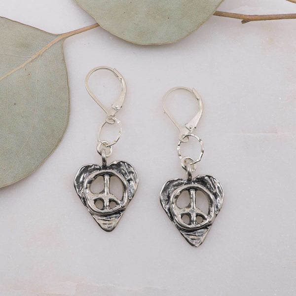 Peace Within - Heart-Shaped Silver Peace Symbol Earrings main image | Breathe Autumn Rain Artisan Jewelry