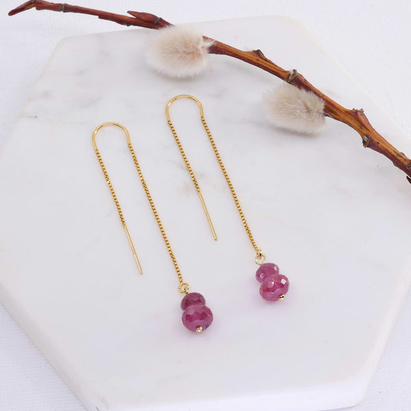 Peony - Pink Sapphire Thread Earrings main image | Breathe Autumn Rain Artisan Jewelry