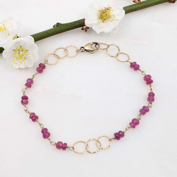 Petals in Bloom - Pink Sapphire Bracelet main image | Breathe Autumn Rain Artisan Jewelry