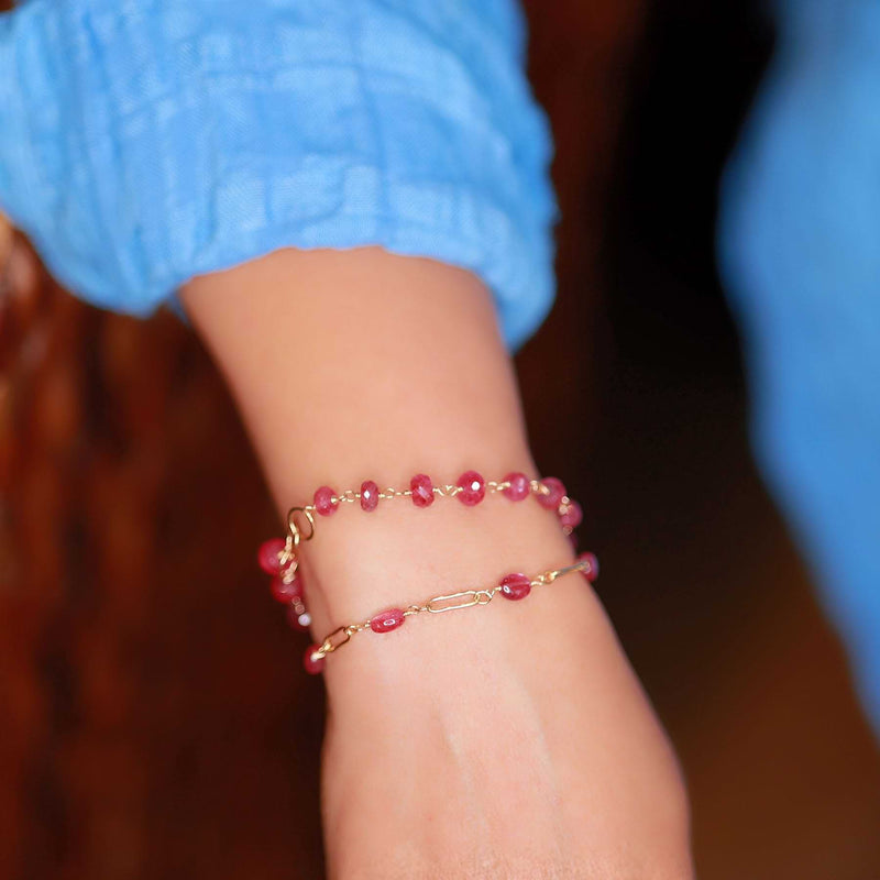 Think Pink - Pink Sapphire Gold Bracelet