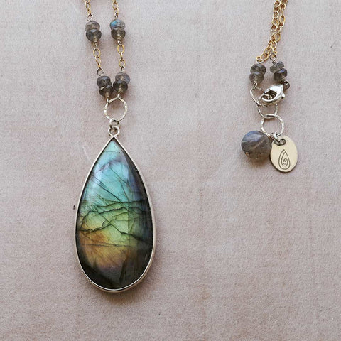 Polar Lights - Rainbow Labradorite Pendant Necklace