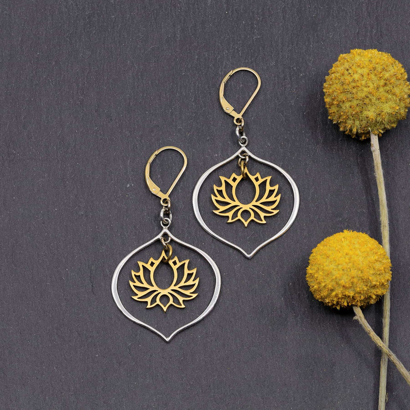 Proudest Bloom - Silver and Gold Mix Metal Lotus Chandelier Earrings