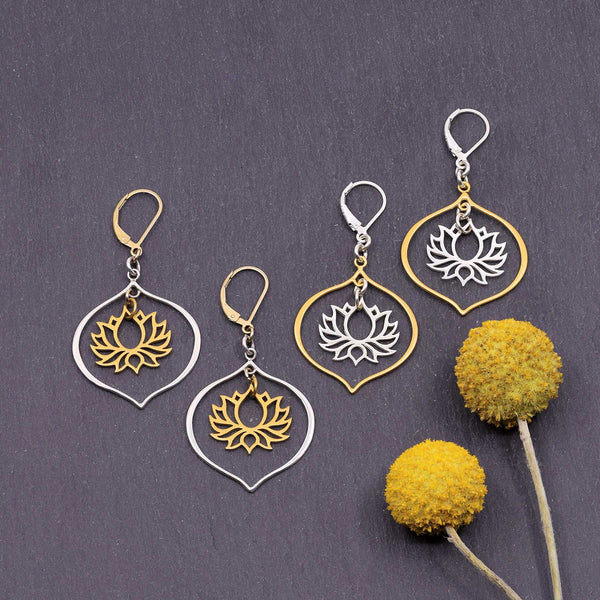 Proudest Bloom - Silver and Gold Mix Metal Lotus Chandelier Earrings - main image | Breathe Autumn Rain Artisan Jewelry