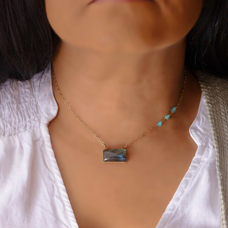 Quebec - Labradorite Bar Necklace life style image | Breathe Autumn Rain Artisan Jewelry
