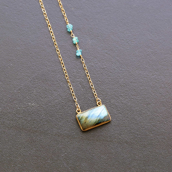 Quebec - Labradorite Bar Necklace main image | Breathe Autumn Rain Artisan Jewelry
