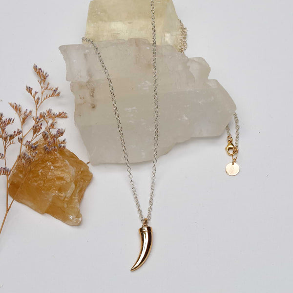 River Trail - Brass Bear Claw Pendant Sterling Silver Necklace main image | Breathe Autumn Rain Artisan Jewelry
