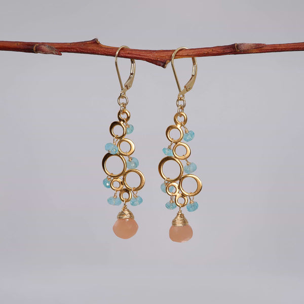 Rosé All Day - Pink Moonstone Apatite Chandelier Earrings alt image | Breathe Autumn Rain Artisan Jewelry