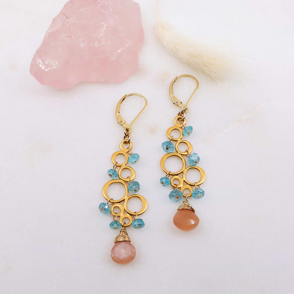 Rosé All Day - Pink Moonstone Apatite Chandelier Earrings main image | Breathe Autumn Rain Artisan Jewelry