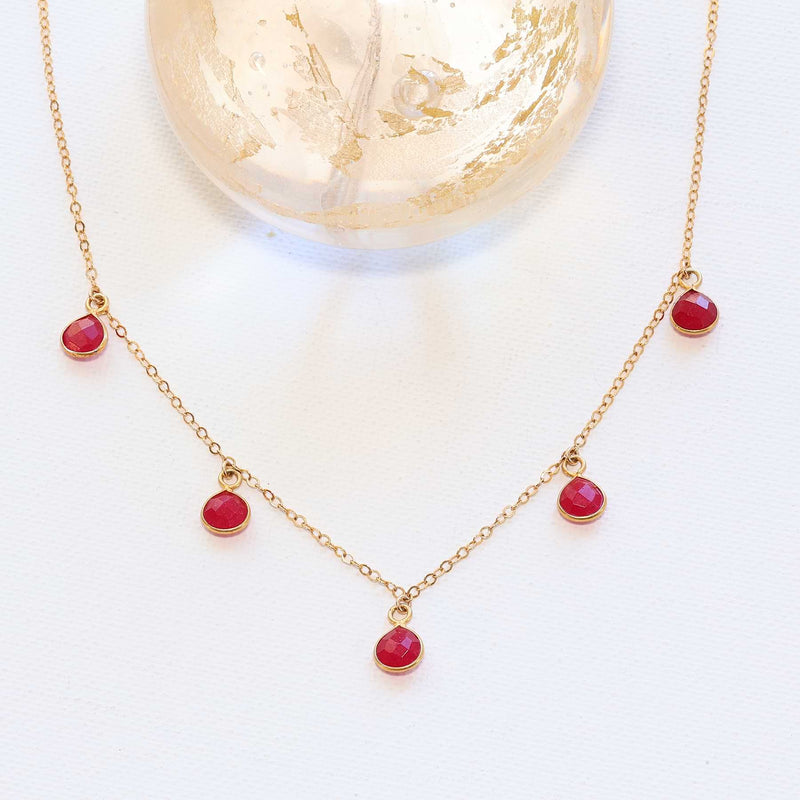 Roses Are Red Rubies Are Too! - Natural Teardrop Ruby Gold Necklace