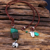 Sacred Journey - Chrysophase Nugget Leather Chord Necklace