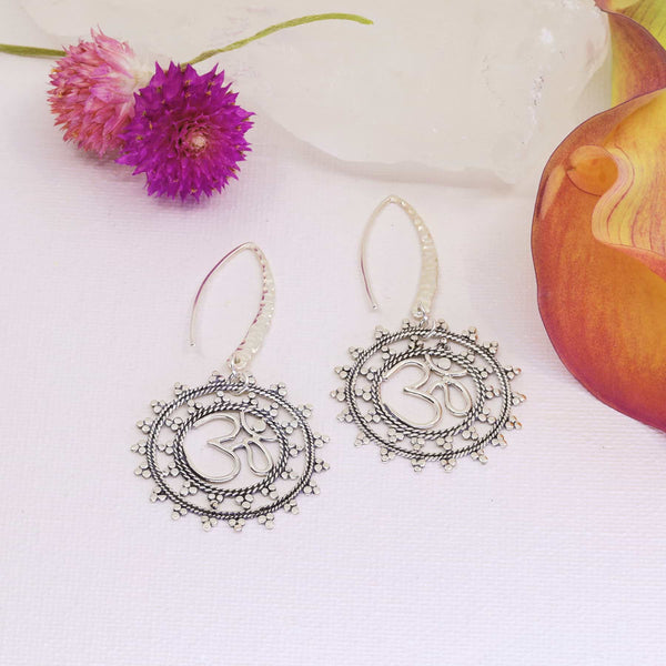 Sacred Om Mandela Earrings main image | Breathe Autumn Rain Artisan Jewelry