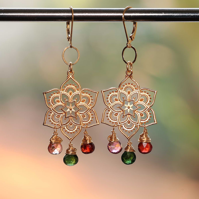 Samsara - Tourmaline Gold Mandala Earrings main image | Breathe Autumn Rain Artisan Jewelry