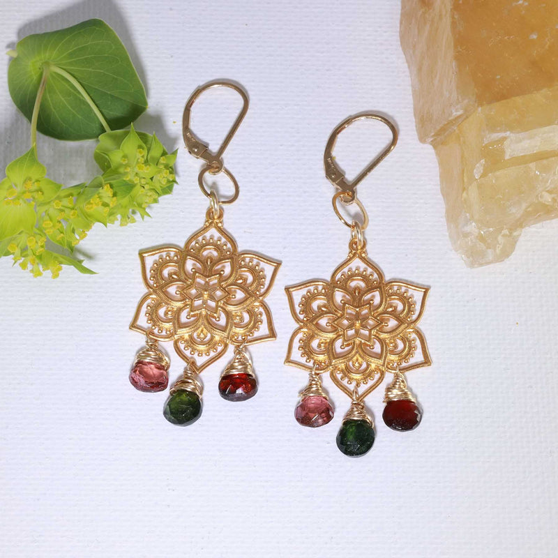 Samsara - Tourmaline Gold Mandala Earrings alt image | Breathe Autumn Rain Artisan Jewelry