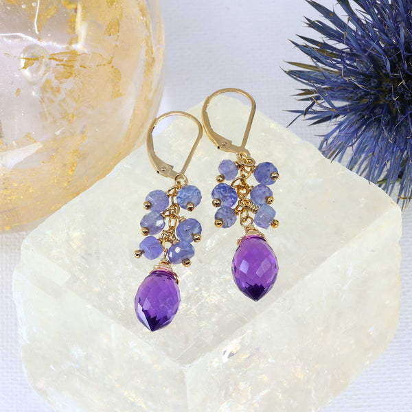 Sandrine - Tanzanite and Amethyst Earrings main image | Breathe Autumn Rain Artisan Jewelry