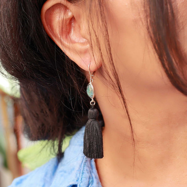Sansa - Labradorite Tassel Silver Earrings life-style image | Breathe Autumn Rain Artisan Jewelry