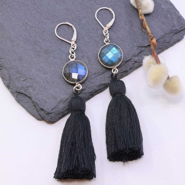 Sansa - Labradorite Tassel Silver Earrings main image | Breathe Autumn Rain Artisan Jewelry