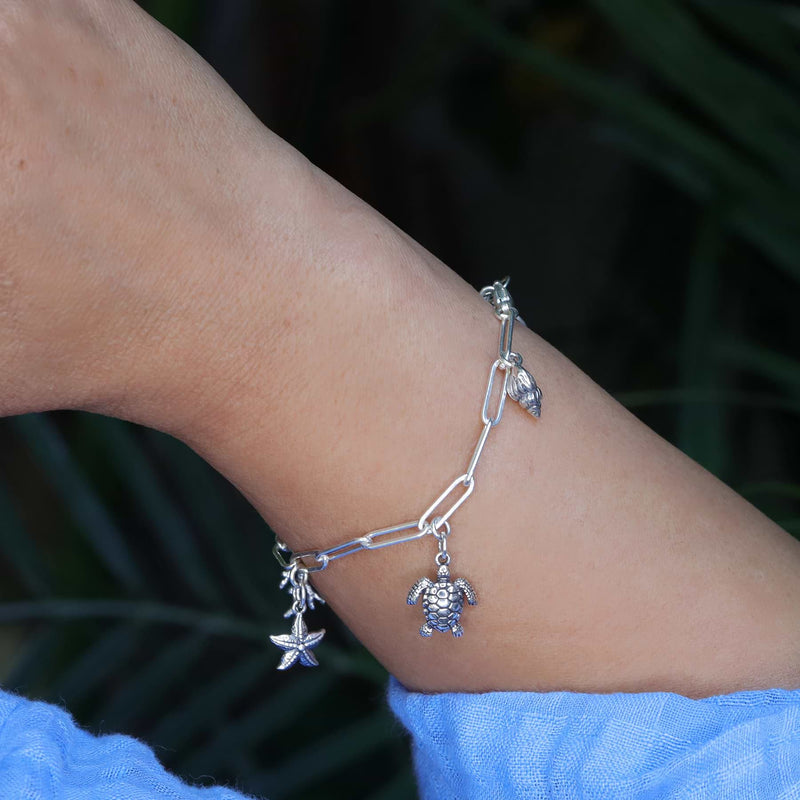 Seashore - Sterling Silver Nautical Charm Bracelet life style image | Breathe Autumn Rain Artisan Jewelry