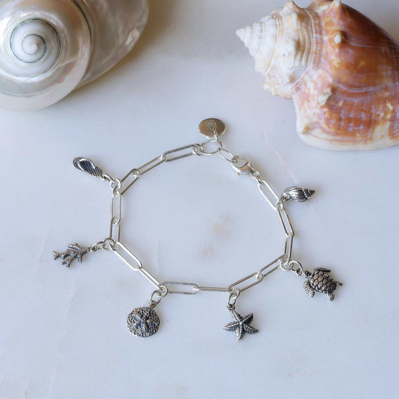 Seashore - Sterling Silver Nautical Charm Bracelet alt image | Breathe Autumn Rain Artisan Jewelry