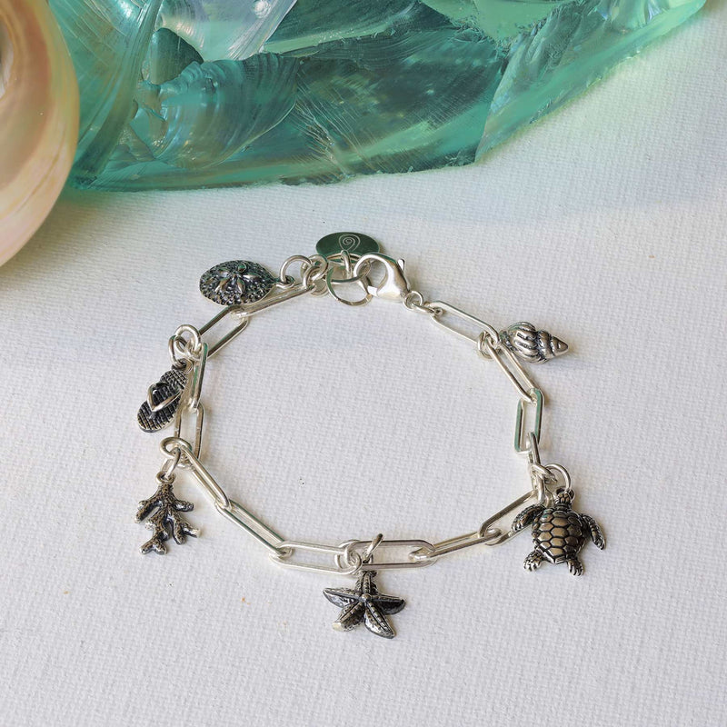Seashore - Sterling Silver Nautical Charm Bracelet main image | Breathe Autumn Rain Artisan Jewelry