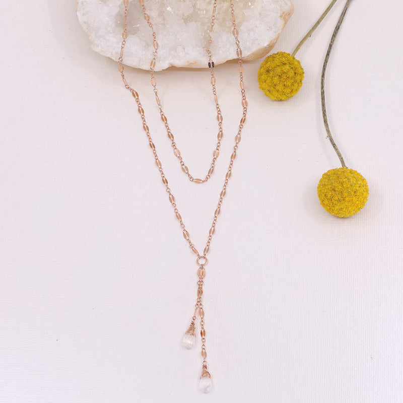 Seattle - Delicate Chain and Moonstone Lariat Necklace
