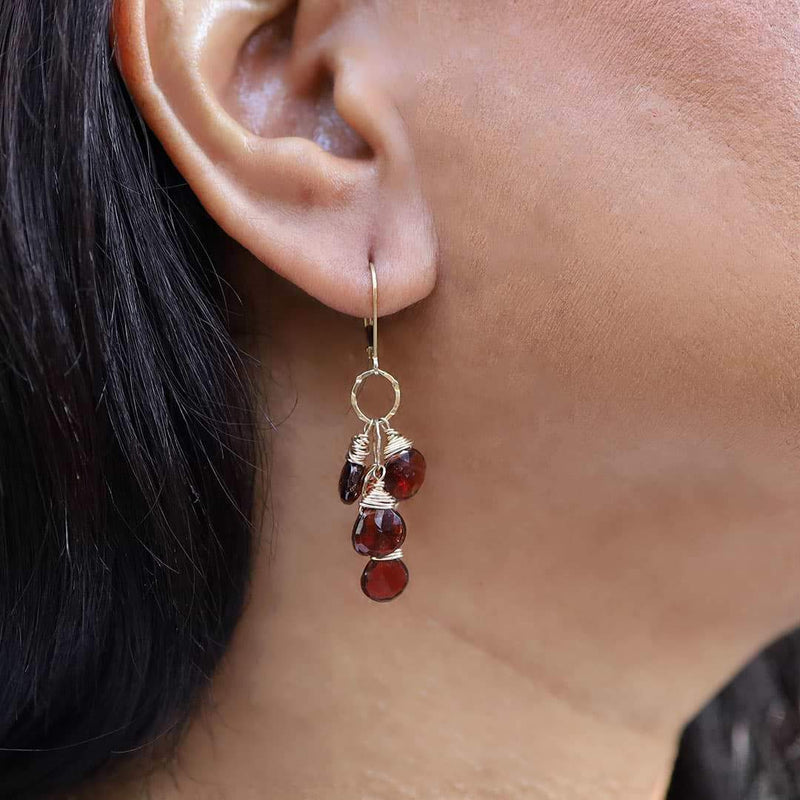 Seville - Garnet Cluster Earrings life style image | Breathe Autumn Rain Artisan Jewelry