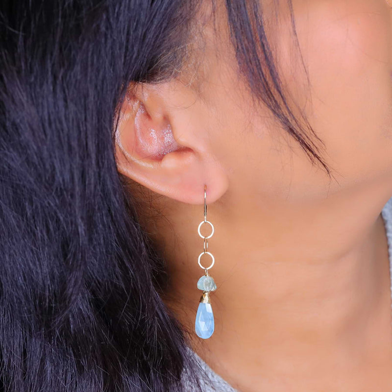 Shallow Waters - Aquamarine Gold Drop Earrings life style image | Breathe Autumn Rain Artisan Jewelry