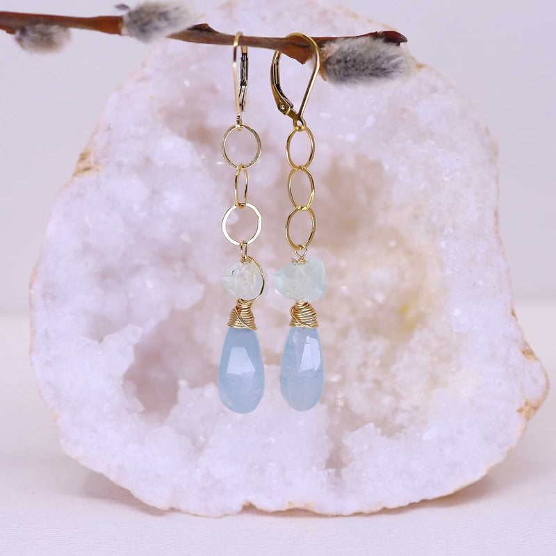 Shallow Waters - Aquamarine Gold Drop Earrings alt image | Breathe Autumn Rain Artisan Jewelry