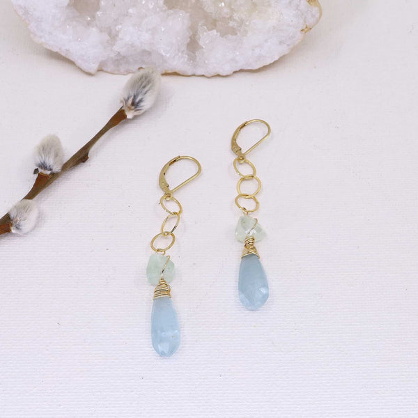 Shallow Waters - Aquamarine Gold Drop Earrings main image | Breathe Autumn Rain Artisan Jewelry