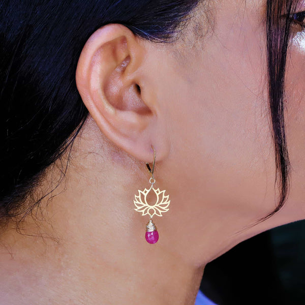 Shiva - Golden Lotus Ruby Drop Earrings life style image | Breathe Autumn Rain Artisan Jewelry