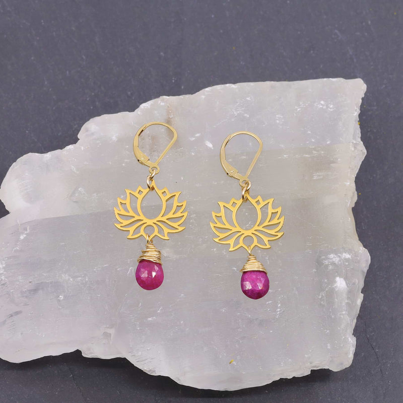 Shiva - Golden Lotus Ruby Drop Earrings alt image | Breathe Autumn Rain Artisan Jewelry