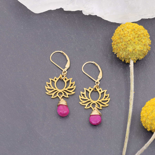 Shiva - Golden Lotus Ruby Drop Earrings main image | Breathe Autumn Rain Artisan Jewelry