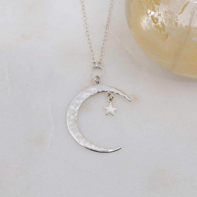 Shooting Star - Hammered Silver Crescent Moon Necklace