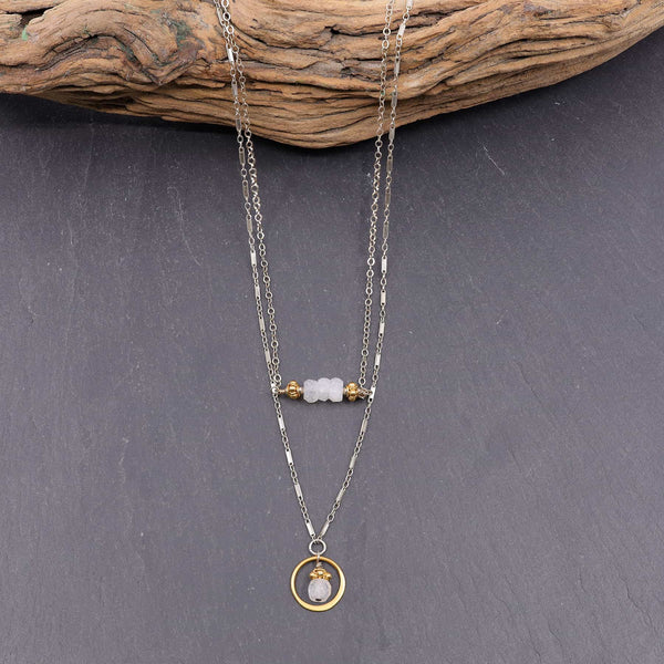 Simple Romance - Moonstone Double Strand Necklace main image | Breathe Autumn Rain Artisan Jewelry