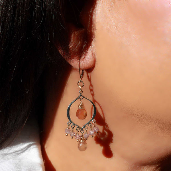 Sinhala - Padparadscha Sapphire Chandelier Earrings life style image | Breathe Autumn Rain Artisan Jewelry