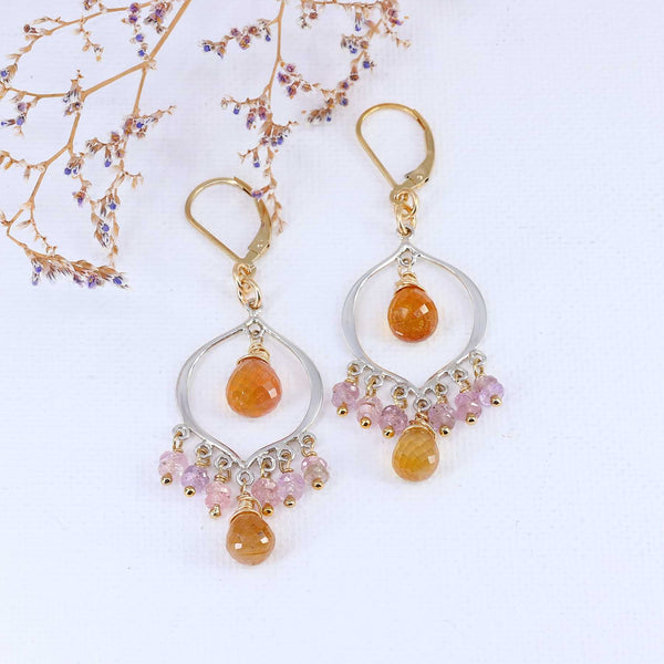 Sinhala - Padparadscha Sapphire Chandelier Earrings main image | Breathe Autumn Rain Artisan Jewelry