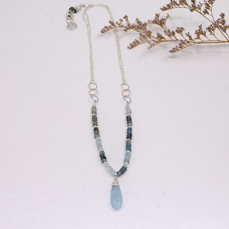 Skye - Aquamarine Sterling Silver Necklace alt image | Breathe Autumn Rain Artisan Jewelry