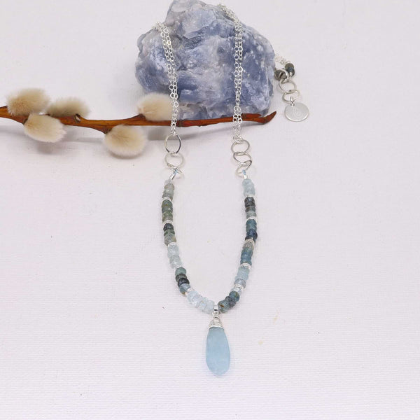 Skye - Aquamarine Sterling Silver Necklace main image | Breathe Autumn Rain Artisan Jewelry