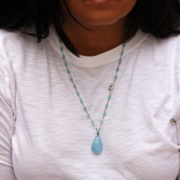 Skye's the Limit - Aquamarine Silver Necklace life style image | Breathe Autumn Rain Artisan Jewelry
