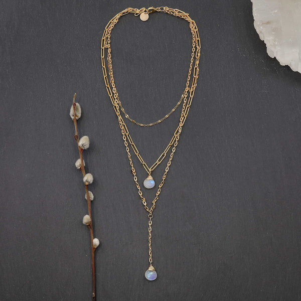 Soho - Triple-Strand Moonstone Gold Necklace main image | Breathe Autumn Rain Artisan Jewelry