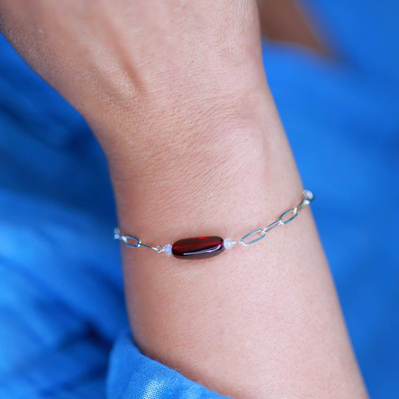 Sophia - Organic Mozambique Garnet Sterling Silver Chain Bracelet life style image | Breathe Autumn Rain Artisan Jewelry
